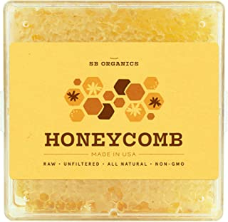 SB Organics Honeycomb with Raw Honey - 1 LB of 100% Pure Kosher Honey Comb, Earth's Natural Sweetener with No Artificial Preservatives - Made in USA from Wild Bees - Now Improved!