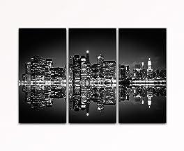 Deine bilder24. de––cuadro de 3piezas Skyline New York de noche Negro de blanco sobre lienzo y bastidor. La mejor calidad, hecho a mano en Alemania., blau gelb weiß grün rot orange braun schwarz rosa, 40 x 80