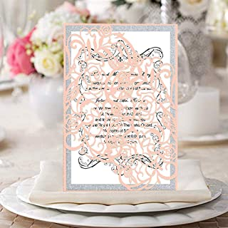 KAZIPA 25 PCs Laser Cut Wedding Invitations with envelopes Hollow Rose Invitations Cards for Wedding Bridal Shower Quinceañera Engagement Graduation Invites