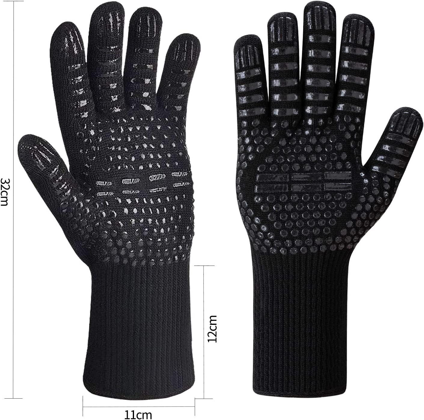 Welding Kitchen Grilling Baking Cooking Isilila BBQ Gloves Extreme Heat Resistant Up to 800 ℃//1472 with EN407 Grill Gloves Oven Gloves Cooking Gloves for BBQ Black