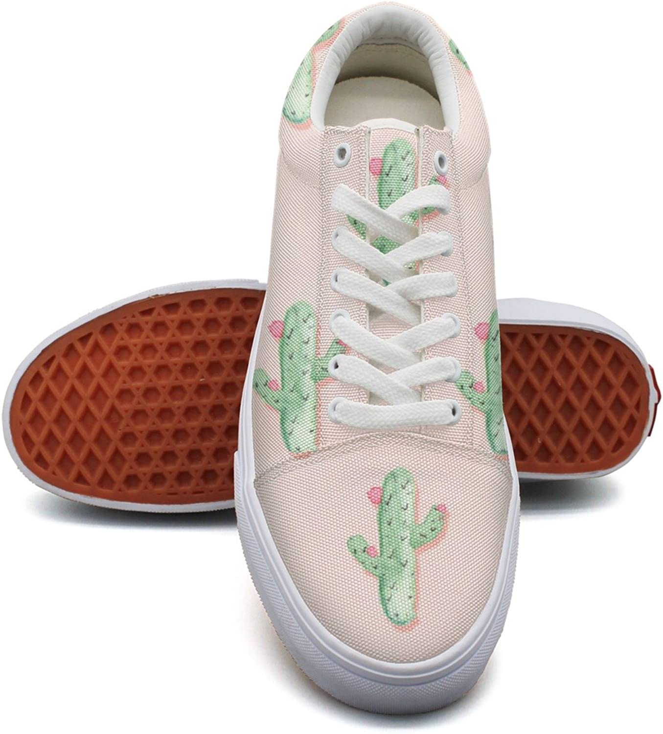 Cute Cactus And Flowers Fashion Canvas Sneaker shoes For Womns 3D Printed Low Top shoes