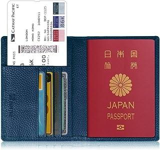 パスポートケース ホルダー トラベルウォレット スキミング防止 安全な海外旅行用 高級PUレザーパスポートカバー 多機能収納ポケット 名刺 クレジットカード 航空券 エアチケット (ネイビー)