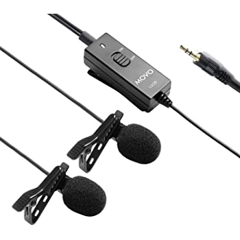 Movo LV20 Dual Lavalier Microphone - Clip-on Omnidirectional Condenser Interview Microphone Set for Cameras, Camcorders, and Recorders