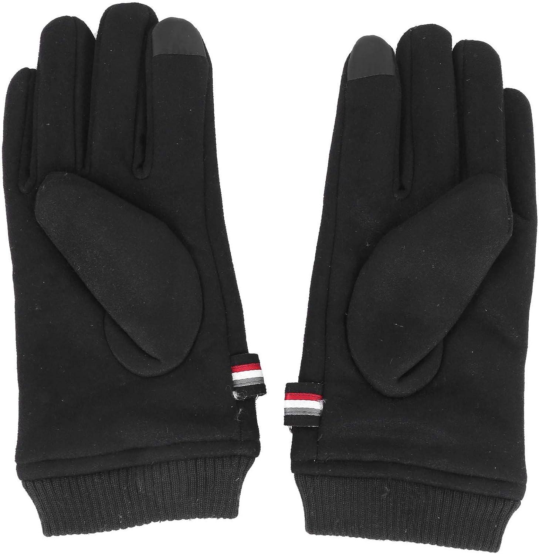Tiamu Winter Gloves Suede Warm Split Finger Gloves Outdoor Sport Driving Buckle Design Male Press Screen Mittens(Black)