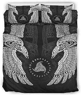 Go Go Grifendoor Colcha Viking suave y estampada, 1 funda nórdica y 2 fundas de almohada, color blanco, 168 x 229 cm