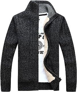 487227eccac491 GWELL Herren Strickjacke mit Fleece Einfarbig Verdickte Sweater Cardigan  Strickpullover mit Reißverschluss Stehkragen
