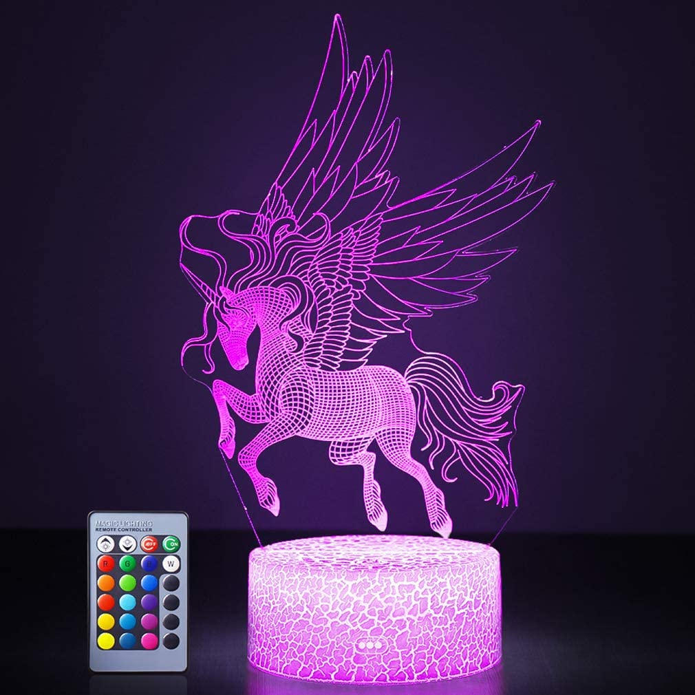 Unicorn Night Lights 3d Optical Illusion Led Lamps With Remote Control Rgb Colors Sleep Aid Night Guidance Home Bedroom Decorations Bday Party Christmas Gift Ideas For Girls Teen Unicorn Fairy