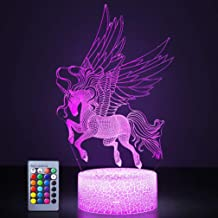 Unicorn Night Lights,3D Optical Illusion LED Lamps with Remote Control & RGB Colors Sleep Aid & Night Guidance Home Bedroo...