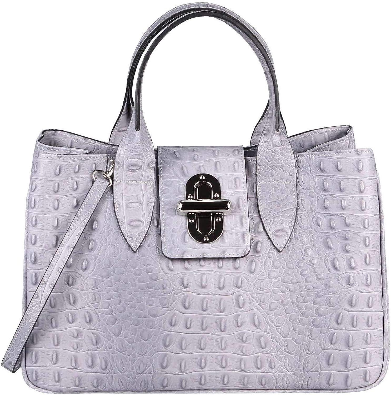 OBC Made in  Damen Echt Leder Leder Leder Tasche Kroko-Prägung Business Shopper Aktentasche Schultertasche Handtasche Ledertasche Umhängetasche Tote Bag (Hellgrau (Kroko-Prägung)) B07Q3SCYSY 6e400d
