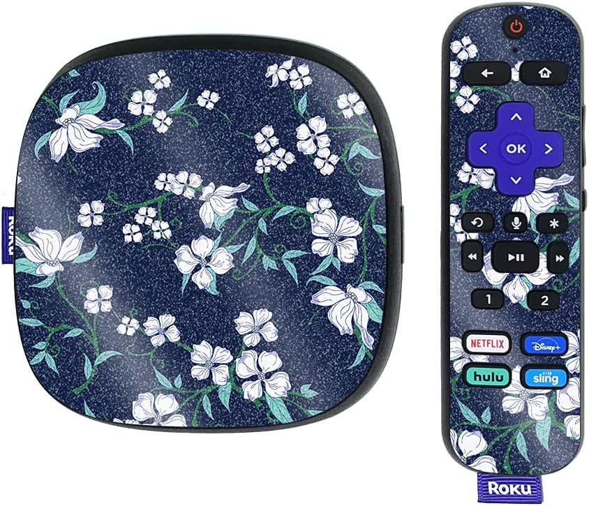 MightySkins Glossy Glitter Skin Compatible with Roku Ultra HDR 4K Streaming Media Player (2020) - White Freesia | Protective, Durable High-Gloss Glitter Finish | Easy to Apply | Made in The USA