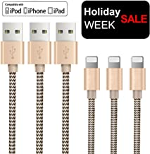 OTISA 3Pack 5Ft Nylon Braided Long Compatible Cable with Ultra-compact Connector Charging Cord Charger Compatible Phone 7/7 Plus/6s/6s Plus/6/6 Plus/5s/55se,Pad,Pod