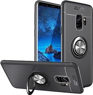 WATACHE Galaxy S9 Hülle, Metall Ring Grip Halter Ständer Slim Soft TPU Schutzhülle mit Unterstützung Magnetische Auto Mount Funktion für Samsung Galaxy S9(Schwarz)