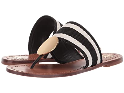 Tory Burch Patos Disk Sandal (Black/White Stripe/Royal Tan) Women
