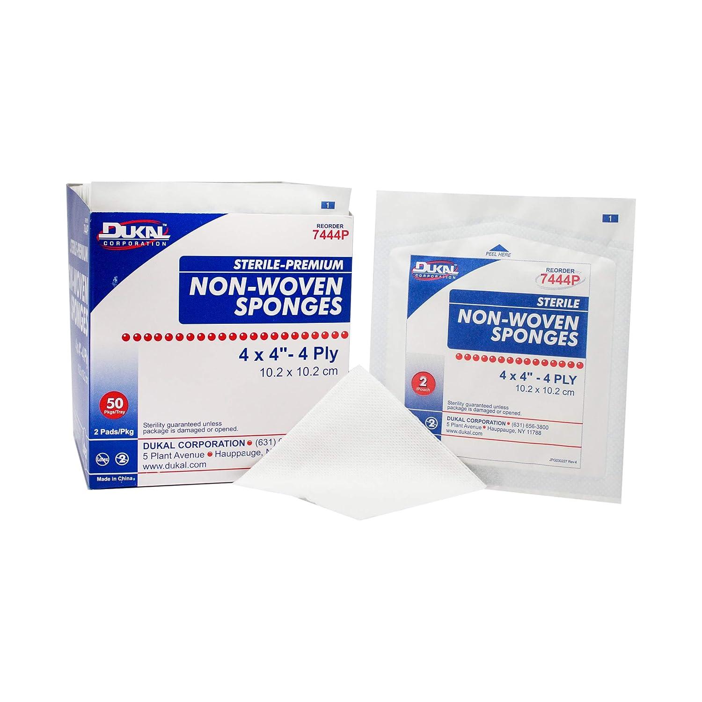 Dukal Sponge, Non-Woven, Sterile, 4-Ply Premium, 4