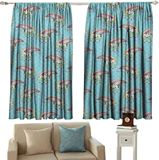 GUUVOR Anime 99% Blackout Curtains Cartoon Rainbow Clouds with Smiling Lovely Faces on Pale Blue Background with Hearts for Bedroom Kindergarten Living Room W52 x L45 Inch Multicolor