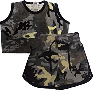 Kids Girls Shorts 100% Cotton Contrast Taped Camo Charcoal Top & Hot Short Sets