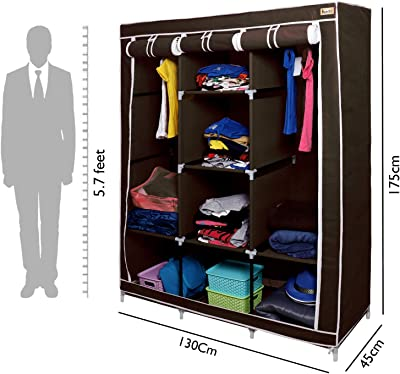 Kurtzy Collapsible Clothes Storage Wardrobe Cupboard Closet with 6 Cabinet and 2 Long Shelves Organizer Hanging Rail Rack Foldable Portable Canvas Drawers