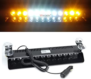 Wecade 12w 12 Leds Car Truck Emergency Strobe Flash Light Windshield Warning Light (Yellow/White/White/Yellow)