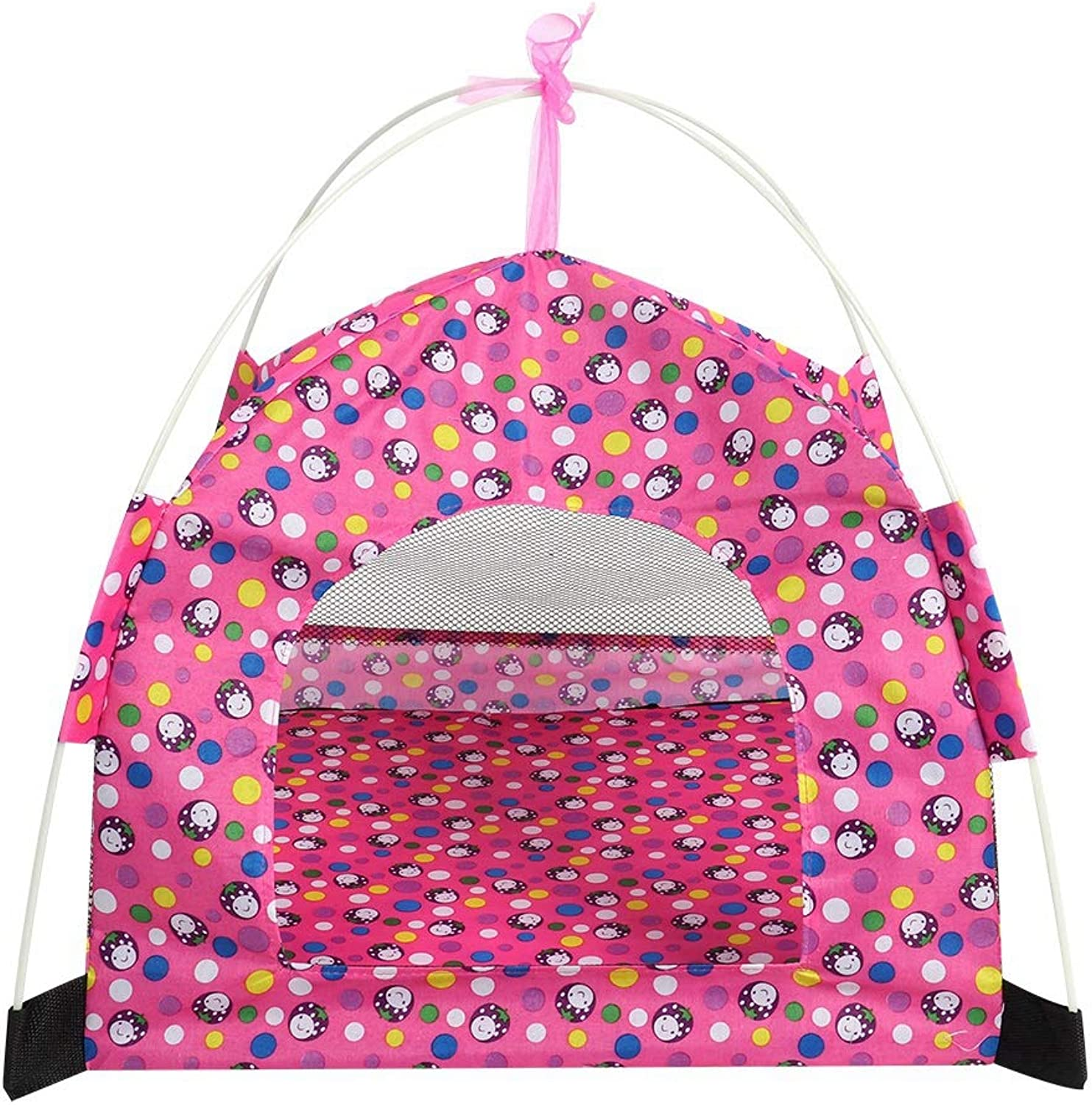 Pet Tent Dog Summer Tent Breathable Pet Tent Breathable Sun Shelter House for Dog Puppy Portable Pet Tent Outdoor Foldable Pet Dog Cat Puppy Playpen(Pink)