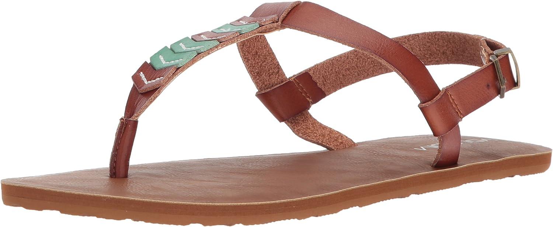 Volcom Womens Trail 6 Chevron T-Strap Synthetic Leather Fashion Sandal Flat Sandal