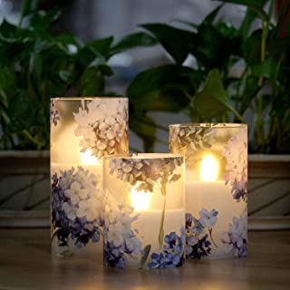 LED Flameless Candles Flickering with Timer, Love Theme Hydrangea Serie Glass Battery Candles, Real Wax Candles Warm White...