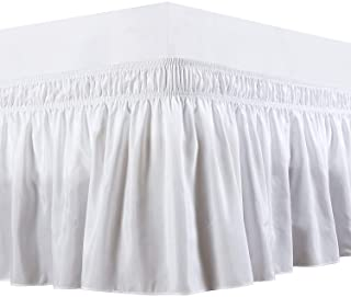 Wrap Around Bed Skirts Elastic Bed Ruffles, Easy Fit Wrinkle and Fade Resistant Solid Silky Luxurious Textured Fabric, Whi...