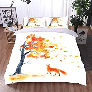 VROSELV-HOME King Duvet Cover Set,Watercolor Autumn Tree with Yellow and Orange Leaves and red Fluffy Cute Fox on White Bedding Sets,1 Duvet Cover,1 Pillowcase