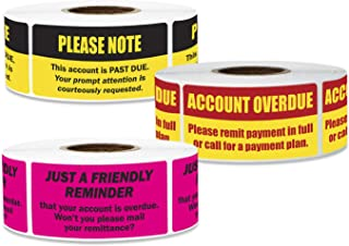 900 Labels - Account Overdue Sticker Bundle for Billing Past Due Collections (2 x 1 inch - 3 Rolls)