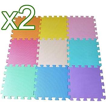 Suitable For Indoor and Outdoor Play Area Nitaar 9 Piece Colourful Interlocking Soft Kids Baby EVA Foam Activity Play Mat Floor Tiles