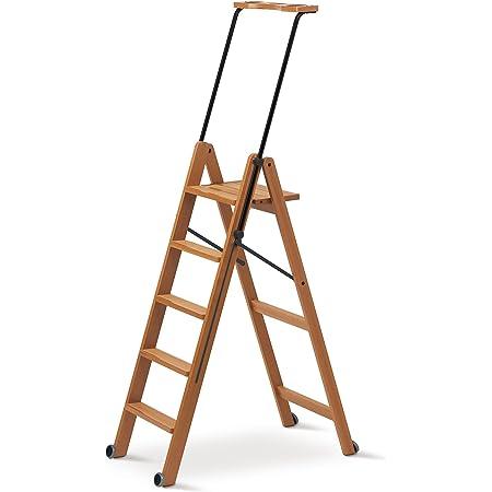 Leiter 5 Stufen breiter Tritt Holz