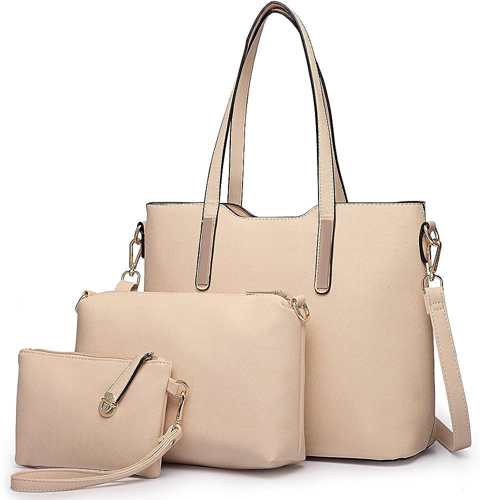Miss lulu, borsa a mano/tracolla per donna,borsa piu` accessori 3 pezzi, in ecopelle, beige