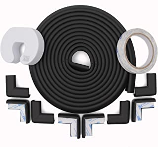 Store2508® Child Safety Strip Cushion 5metres (16.4 Feet) & 8 Pre Taped Corner Guards Cushion with Genuine 3M 9448A Tape for Baby Safety Child Proofing. (Black)