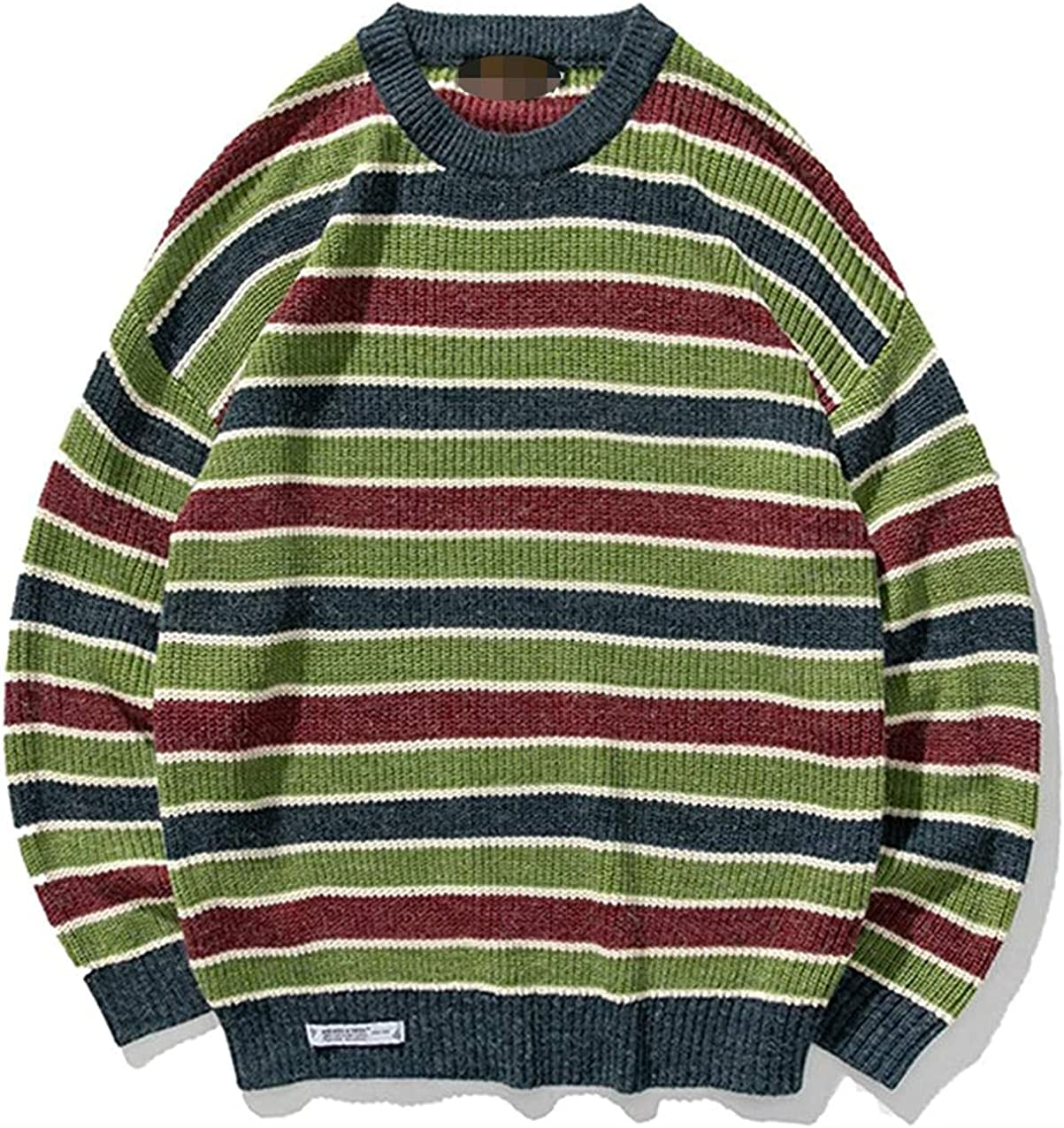 Men Striped Winter Sweater Pullover Harajuku Knitted Sweater Casual Loose Clothing