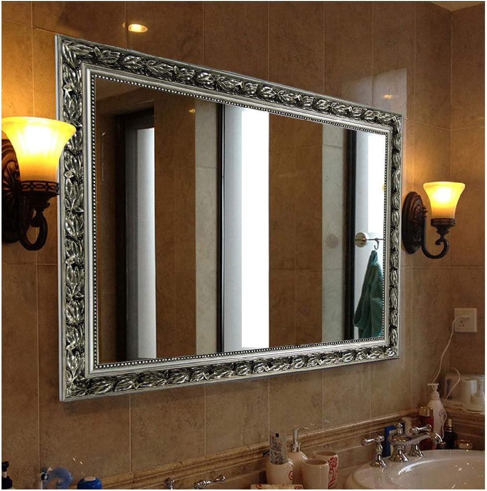 "Hans&Alice Bathroom Mirrors for Wall (Silver, 38""x26"")"