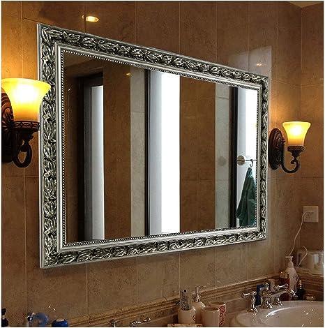 Amazon Com Hans Alice Bathroom Mirrors For Wall Silver 38 X26 Home Kitchen