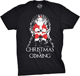 Mens Christmas is Coming Santa Claus on Throne TV Show Parody Holiday T Shirt