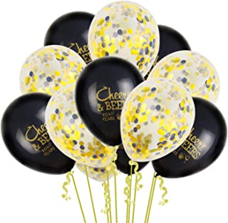 Tuoyi 40pcs Party Balloons Decorations Set, 20pcs Confetti Balloons and 20pcs Cheers to 40th Balloons Party Supplies for Birthday, Anniversary