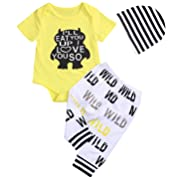 Newborn Baby Boy Wild Monster Cartoon Letter Jumpsuit Tops Pants Clothes Set