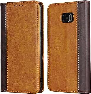 Galaxy S7 Edge SC-02H SCV33 ケース手帳型 ギャラクシーs7エッジカバー Zouzt 合成皮革 財布型 カード収納 マグネット ベルトなし スタンド 4色 イエロー+ブラウン