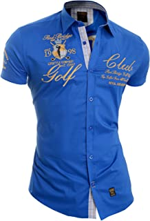 D&R Fashion Redbrige Men's Designer Embroidered Shirt Short Sleeve Classic Collar Gold Trim