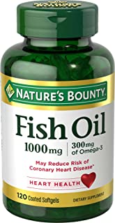 Nature's Bounty Fish Oil 1000 mg Omega-3 & Omega-6, 120 Odorless Softgels (Packaging May Vary)