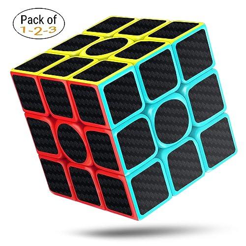 cfmour Rubiks cube Speed Cube 3x3,rubix cube,speed rubiks cube Carbon Fiber Sticker Smooth Magic Cube,Enhanced Version, 5.7cm Black