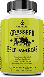 Ancestral Supplements Grass Fed Pancreas — Digestive, Proteolytic Enzymes (Including Trypsin) and Pancreatic Support (180 ...