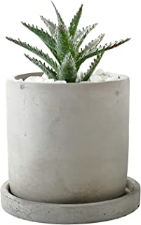 Succulent Planter Pot Cactus Planter, 4 Inch Cement Planter with Drainage Hole and Removable Saucer - Indoor Outdoor Planter Container, Round (DAYE BOUTIQUE)