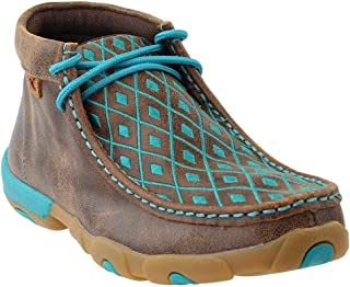 Women's Driving Mocs, Driving Loafers for Women - Brown/Turquoise