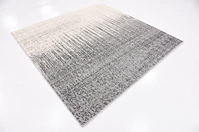 Unique Loom Del Mar Collection Contemporary Transitional Square Rug, 6', Gray/Ivory