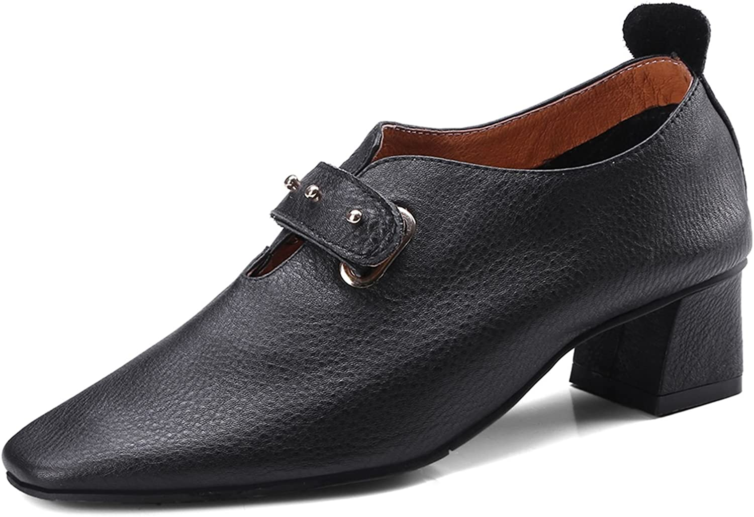VIMISAOI Women's Genuine Leather Casual Clasps Strap Slip-on Loafers Comfort Walking Heels shoes