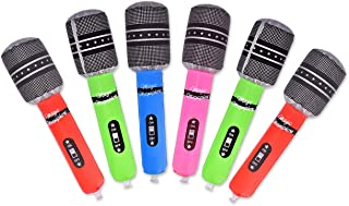 DS.DISTINCTIVE STYLE Inflatable Microphones for Kids 6 Pieces 24cm Blow up Microphones for Party Inflatable Music Instruments Toys 80s Karaoke Props