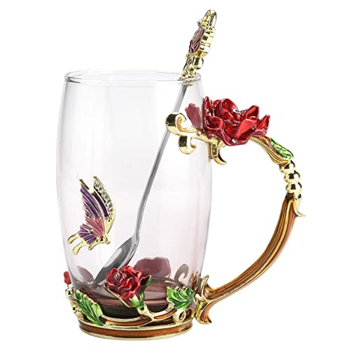 Christmas Gift NBHUZEHUA Womens Unique Novelty Flower Glass Coffee Mugs Cups For Espresso Water