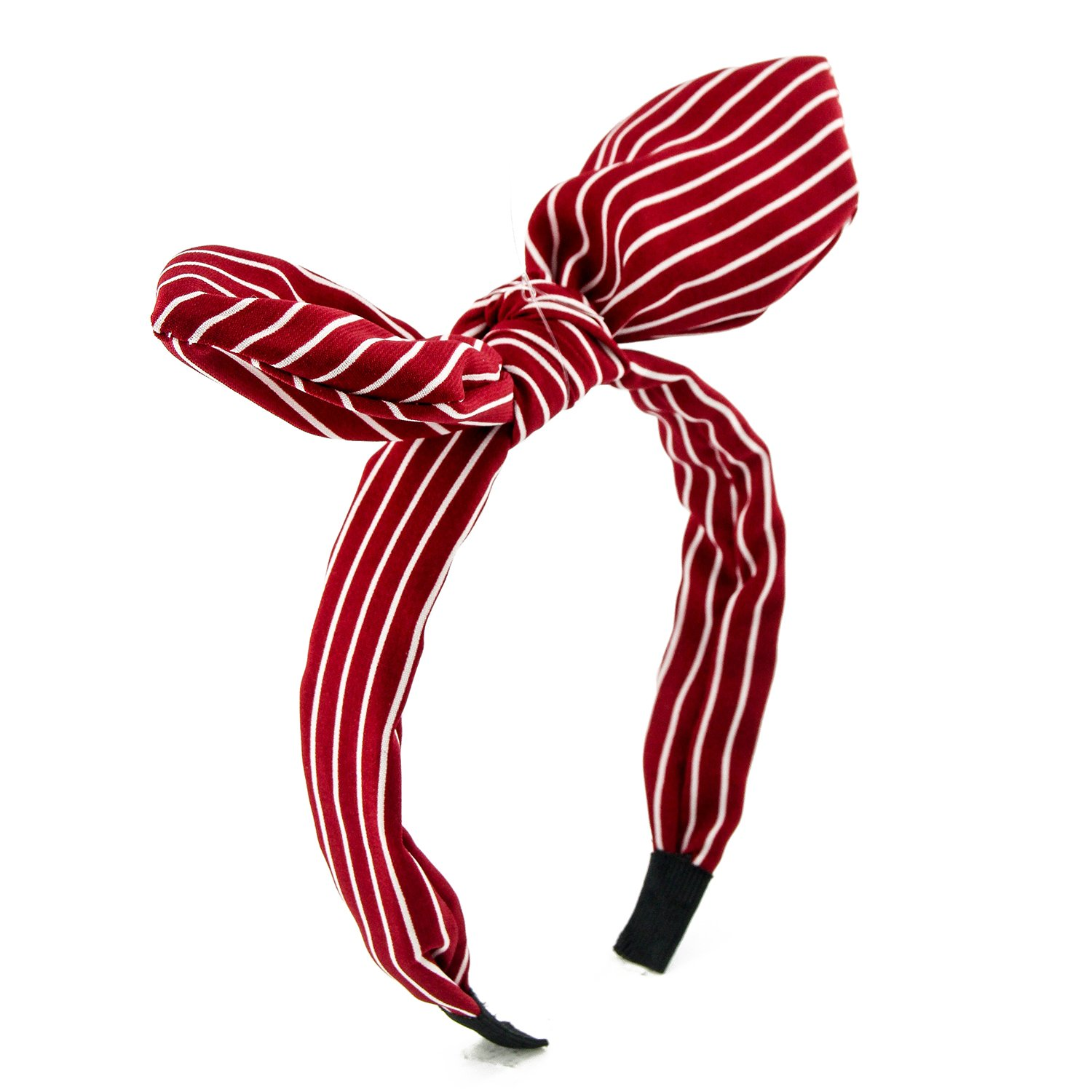 Carede Wired bow Headband With Polka Dot Style and Stripe Pattern Bowknot Plastic Headband for Women and Girls